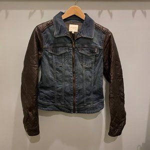 Jean Jacket with Vegan Leather Paneling
